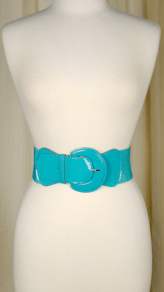 Viva Dulce Marina Turquoise Elastic Cinch Belt for sale at Cats Like Us - 2