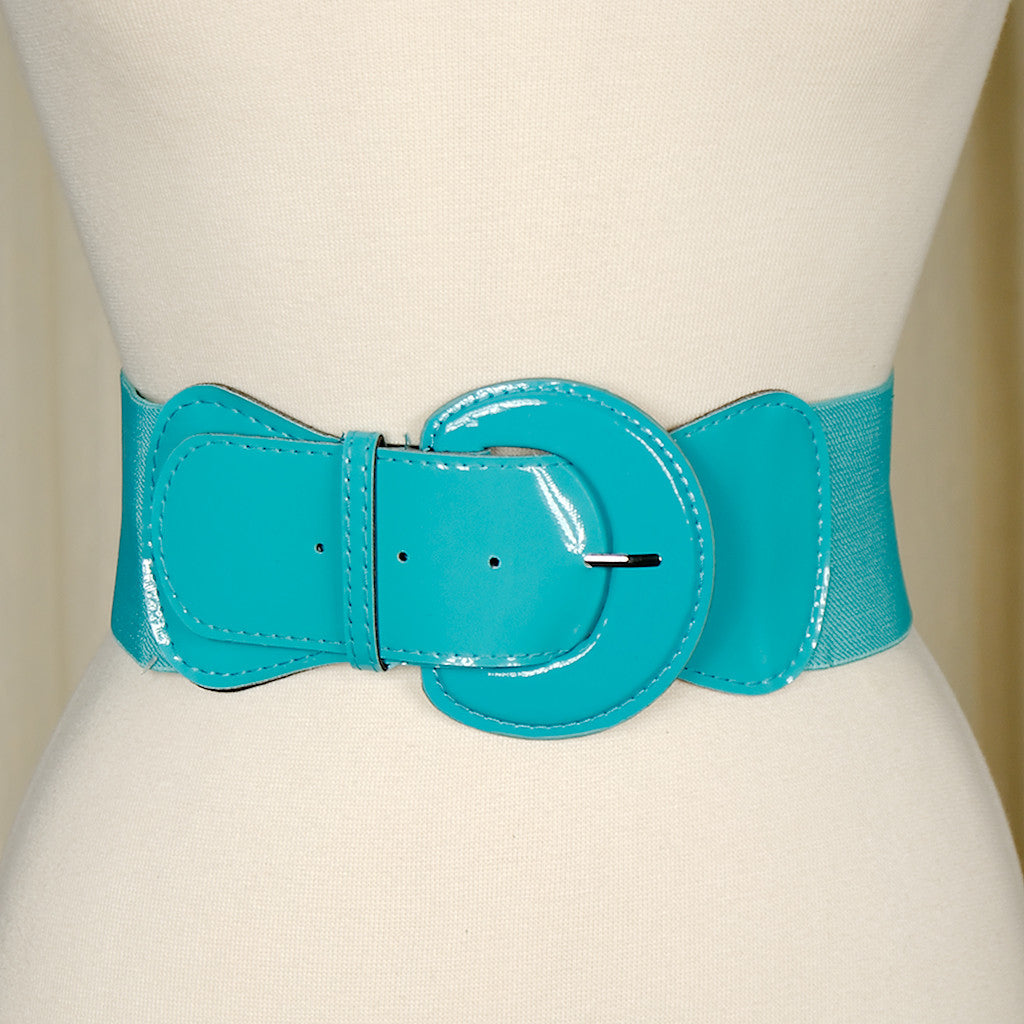 Turquoise Elastic Cinch Belt - Cats Like Us