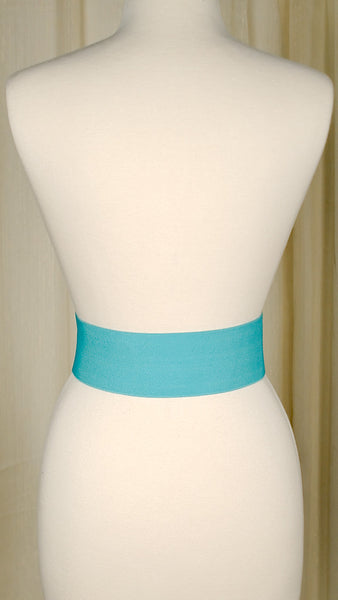 Turquoise Elastic Cinch Belt by Viva Dulce Marina : Cats Like Us