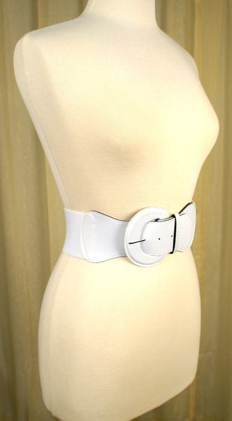 Viva Dulce Marina White Patent Elastic Cinch Belt for sale at Cats Like Us - 2