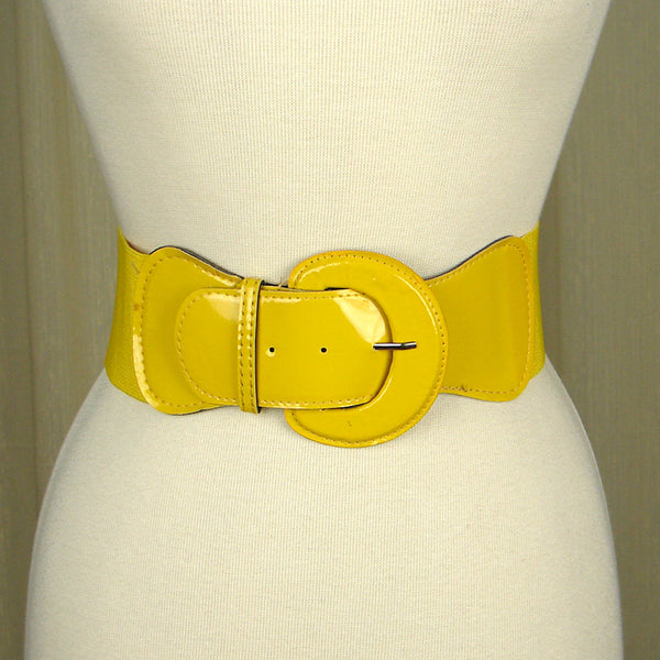 Yellow Patent Cinch Belt