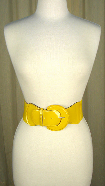 Viva Dulce Marina Yellow Patent Cinch Belt for sale at Cats Like Us - 2