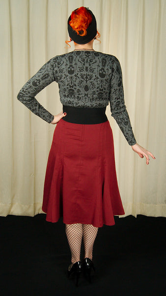 VooDoo Vixen Amy Burgundy Tulip Skirt for sale at Cats Like Us - 4