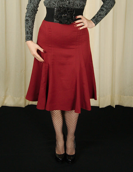 VooDoo Vixen Amy Burgundy Tulip Skirt for sale at Cats Like Us - 2