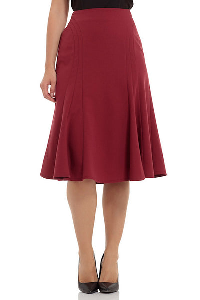 VooDoo Vixen Amy Burgundy Tulip Skirt for sale at Cats Like Us - 1