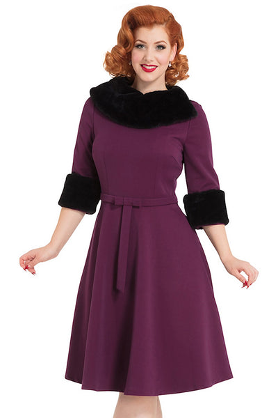 Belle Fur Collar Swing Dress - Cats Like Us