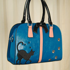 Black Cat Paw Print Handbag