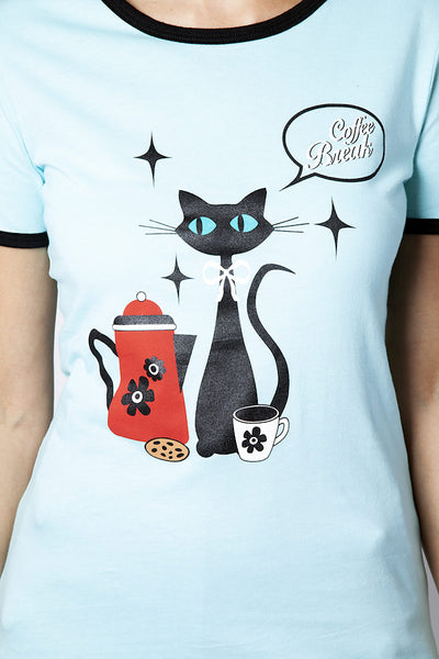 Coffee Break Cat T Shirt