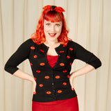 VooDoo Vixen Faith Red Lips Kiss Cardigan