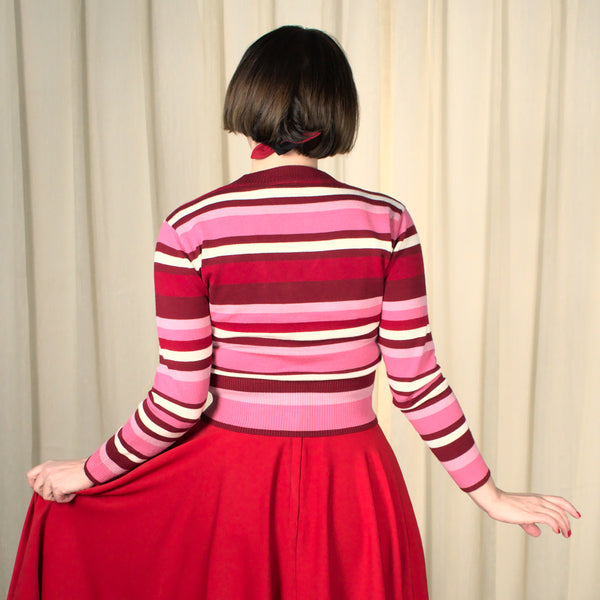 Fay Red & Pink Striped Cardigan