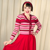 VooDoo Vixen Fay Red and Pink Striped Cardigan