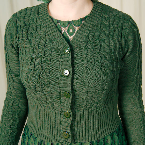 Green Wavy Knit Cropped Cardi