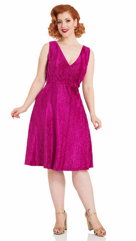 Irene Magenta Velvet Dress - Cats Like Us