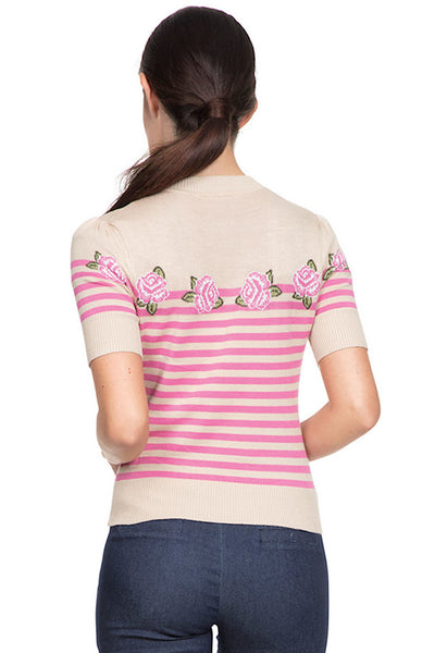 Julia Pink Roses Beige Sweater - Cats Like Us