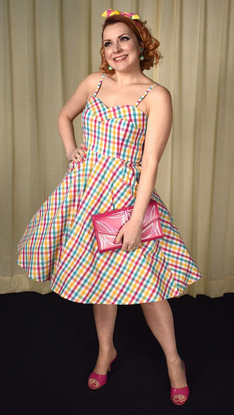 Megan Gingham Swing Dress - Cats Like Us