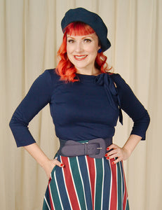 Navy Melanie Tie Neck Top by VooDoo Vixen : Cats Like Us