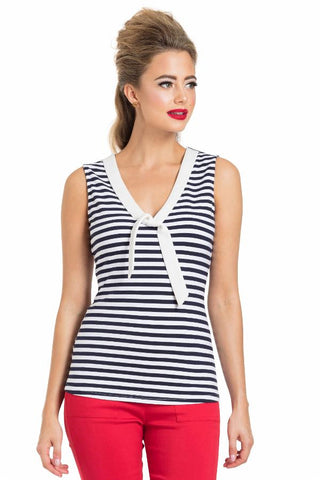 Navy Nautical Stripe Sailor Top