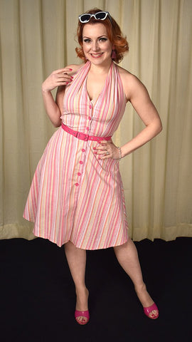 Pinky Doll Striped Halter Dress