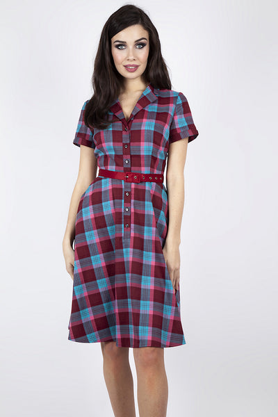 Raspberry Plaid Shirt Dress