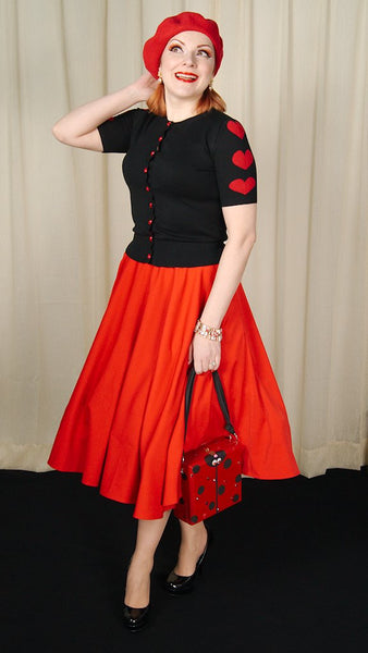 Red Rosy Swing Skirt - Cats Like Us