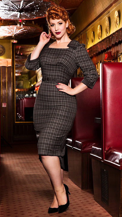 Veronica Tartan Pencil Dress - Cats Like Us