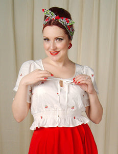 Winnie Cherry Peasant Top