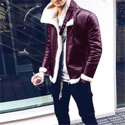 Mens Classic Casual Lapel Leather Jacket