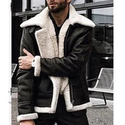 Men's Winter Fashion Long Sleeve Plush Artificial Leather Jackets Coats