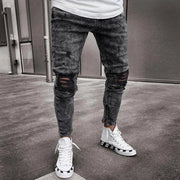Men's Jeans Gray Shredded Zipper Pants Feet Elastic Skinny Pants