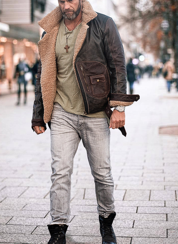 Mens Fashion Casual Lapel Leather Jacket