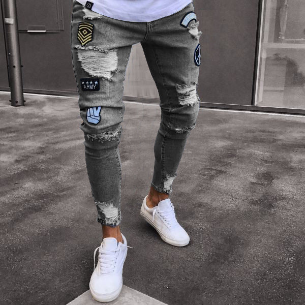 Street Fashion Pure Color Ripped Jeans Pants