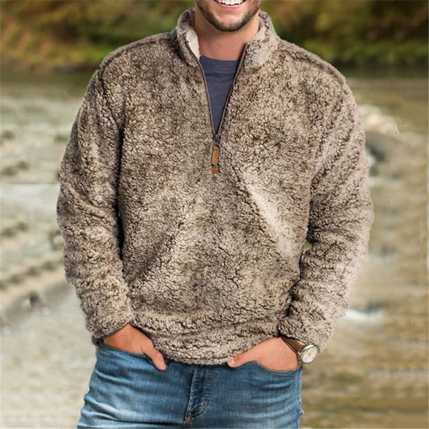 Mens casual plush pullover zipper sweater