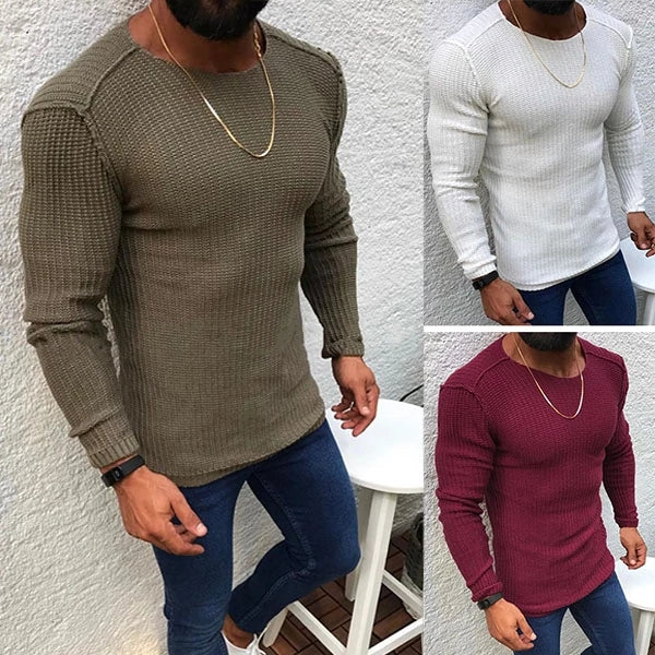 Fashion round collar plain slim sweater