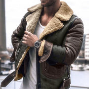 Mens Plush Leather Stitching Cotton Jacket