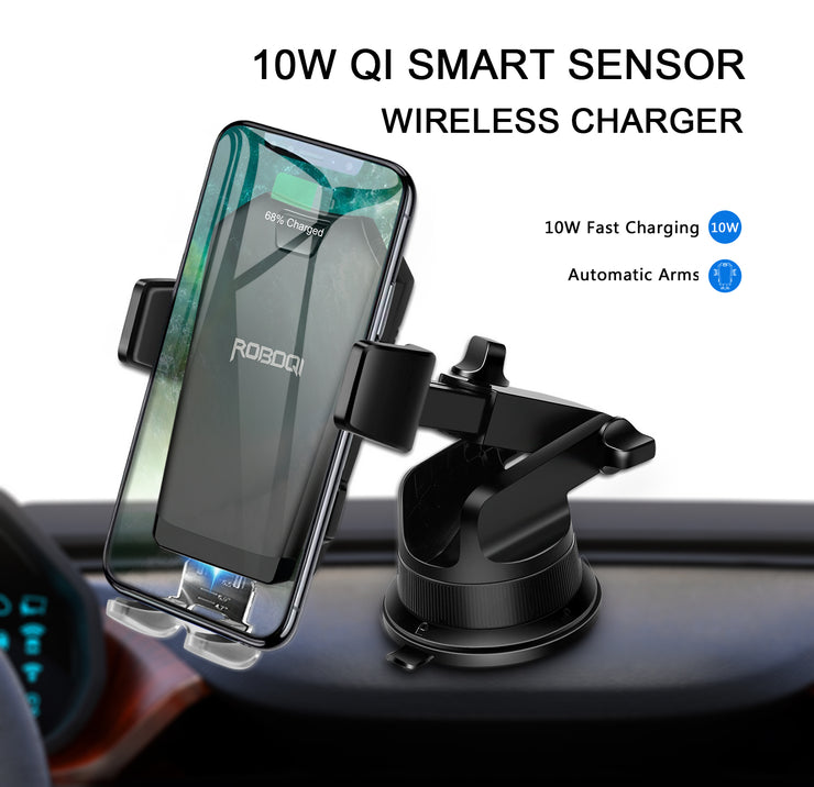ROBOQI® X - Smart Sensor Wireless Car Charger Mount
