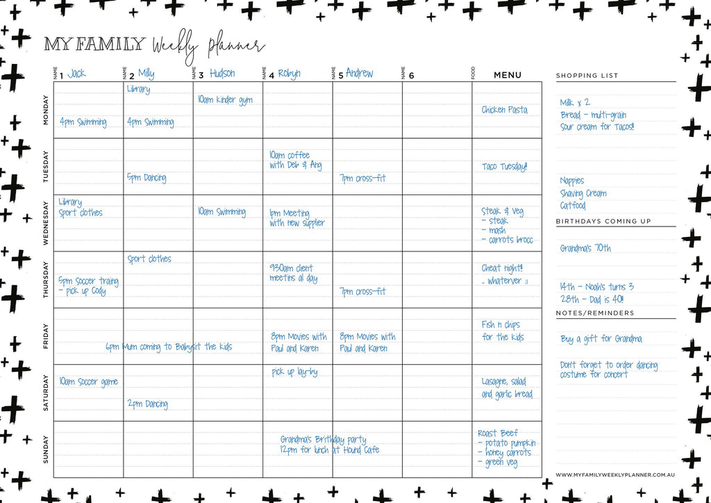 Weekly Planner Cross Design - Black and White