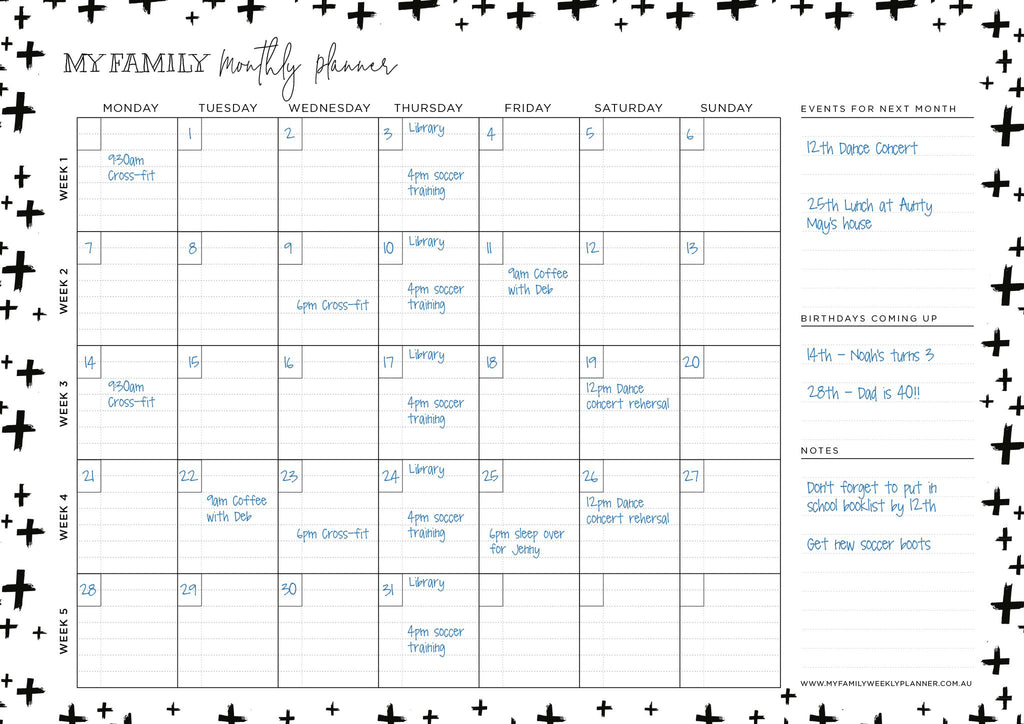 Monthly Planner Cross Design - Black and White