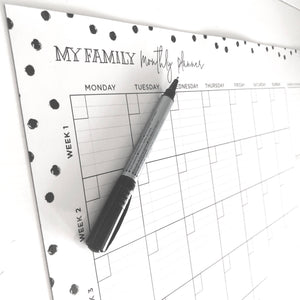 Monthly Planner Spot Design - Black and White