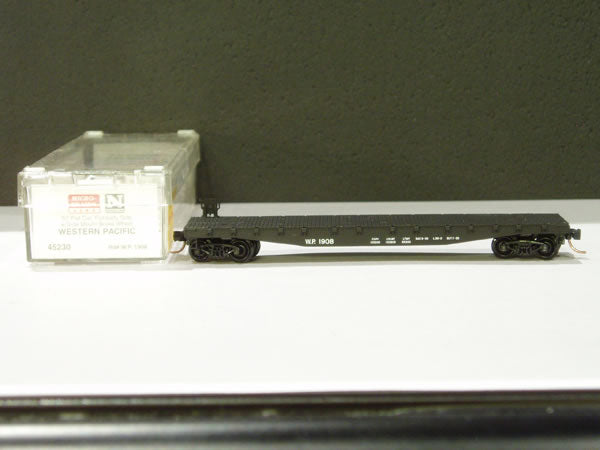 MTL-45230 - 50' Flat Car, Fishbelly Side, w/ Side Mount Brake Wheel - Western Pacific