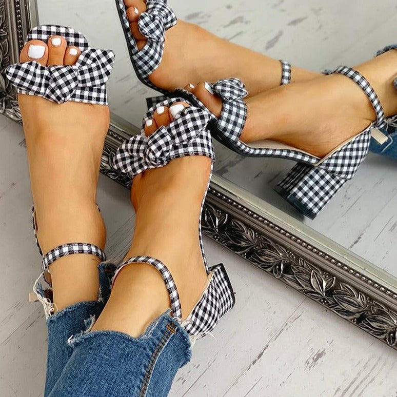 Stephanie's Plaid Bowknot Sandals