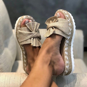 Alicia's Bow Platform Sandals
