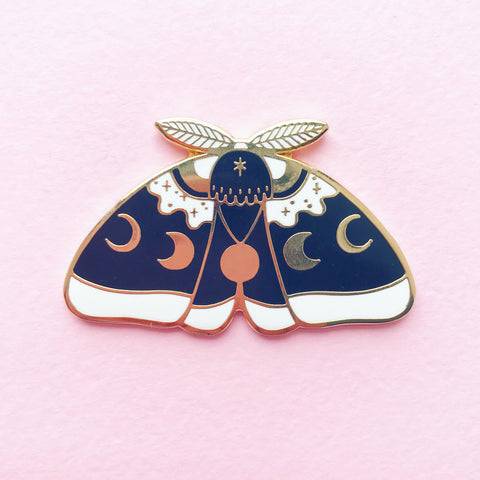 Black MoonMoth enamel pin