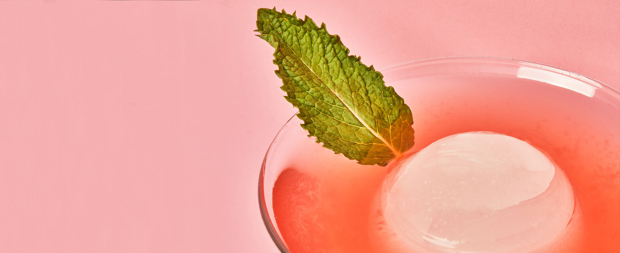 A close-up image of the Strawberry Margarita featuring a mint garnish.
