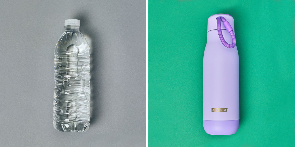 An image of a single-use water bottle verses a ZOKU Powder Coated reusable water bottle.