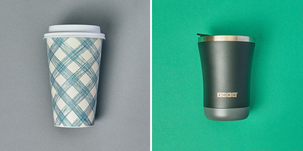 An image of a single-use coffee cup versus a reusable ZOKU 12oz 3-in-1 Tumbler.