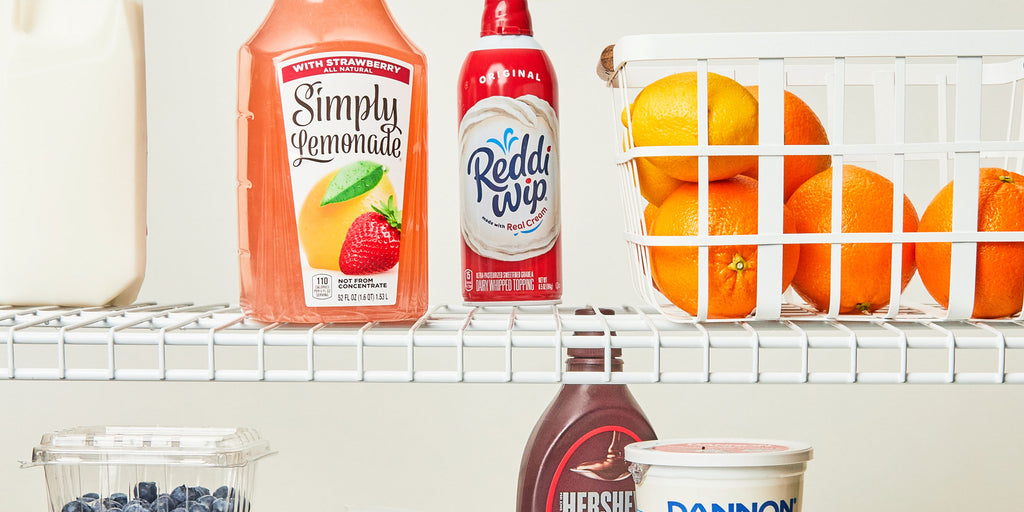 An image slushy ingredients being chilled in a refrigerator.