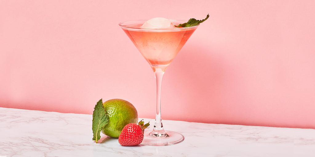 An image of ZOKU's Strawberry Margarita against a pink backdrop.
