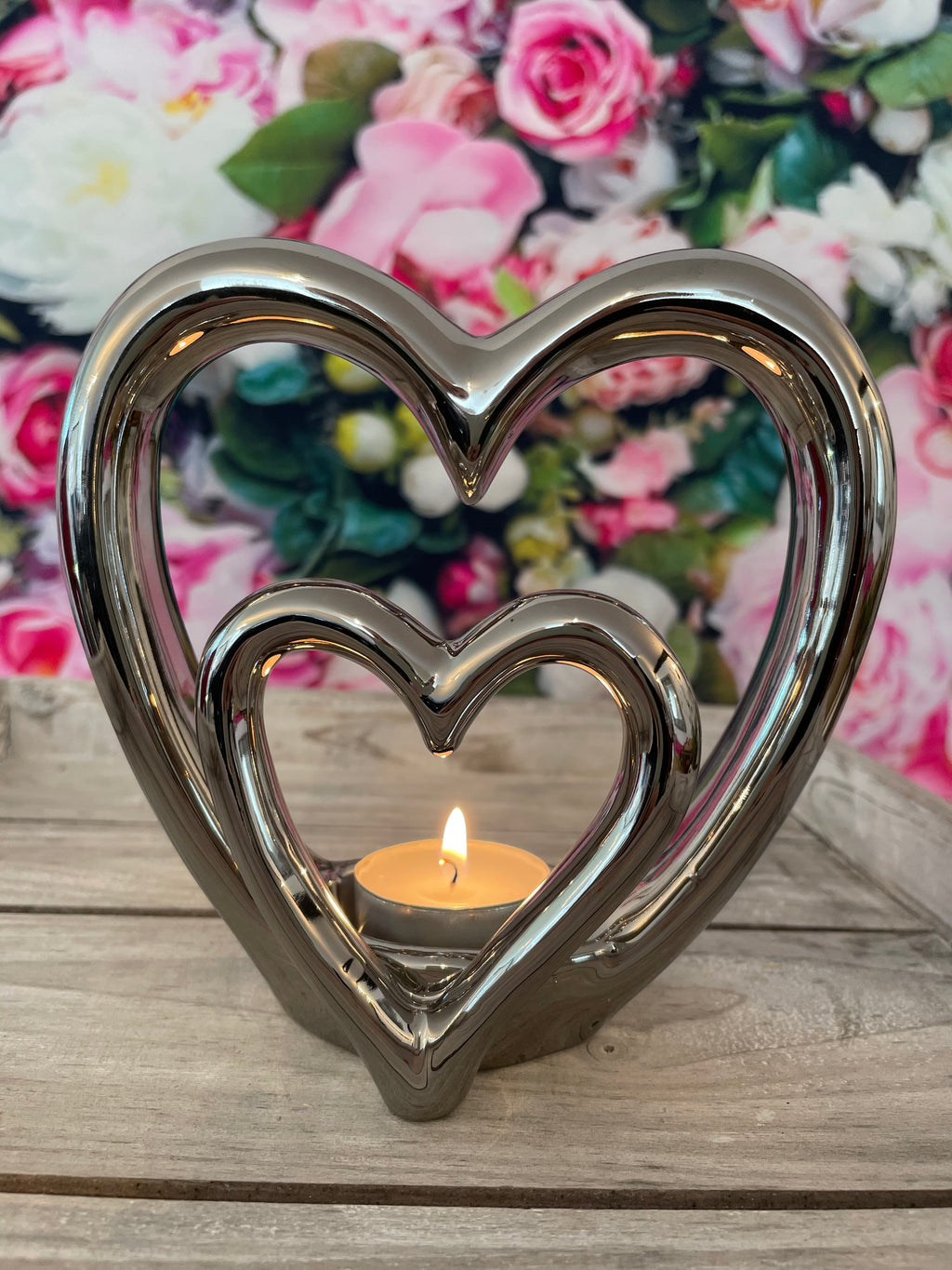 Heart shaped tea light candle holder
