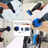 4pc Power Scrubber Quick-Change Drill Attachment Set - 3 Brushes and 1 Extension