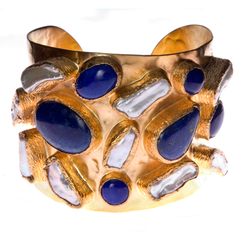 Mabe Pearl and Lapis Cuff Bracelet